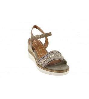 Tamaris mud suede sandaal -...