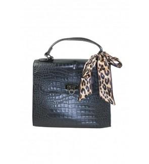 kroko zwart handtas met...