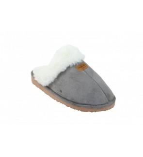 grijze pantoffel met wol -...